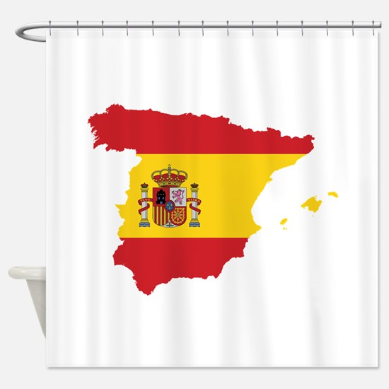 Flag Map of Spain Shower Curtain