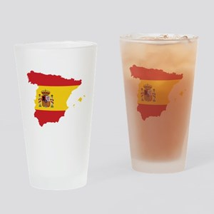 Flag Map of Spain Drinking Glass