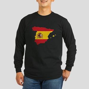 Flag Map of Spain Long Sleeve Dark T-Shirt