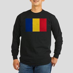 Flag of Romania Long Sleeve Dark T-Shirt