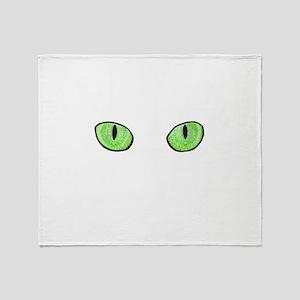 Green Cat Eyes Throw Blanket