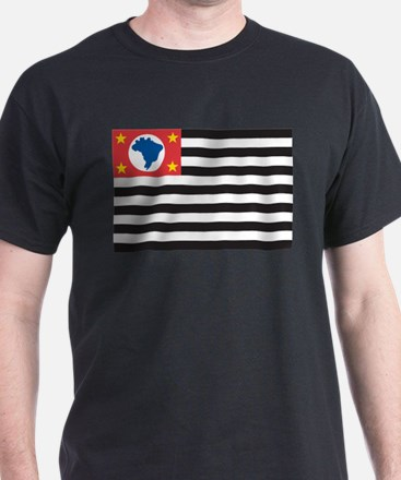 Sao Paulo Flag Black T-Shirt