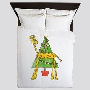 Christmas Tree and Animals. Queen Duvet