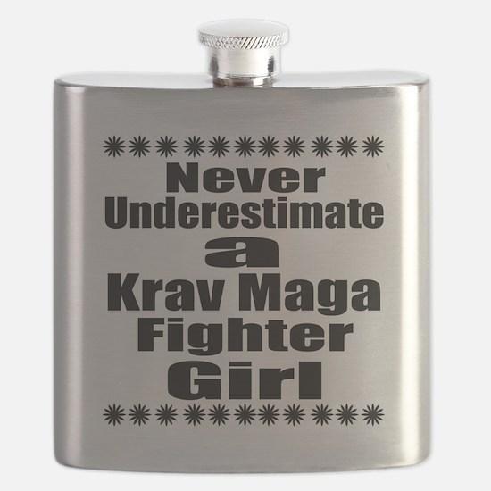 Never Underestimate Krav Maga Fighter Girlfr Flask