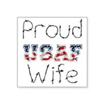 """Barbed Wire Proud USAF Wife Square Sticker 3"""""""