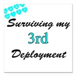 ARMY WIFE Surviving 3rd Deplo Square Car Magnet 3&