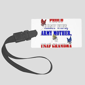 armywifemomusafgrandma Large Luggage Tag