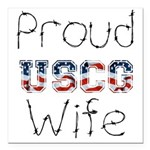 Proud USCG Wife Square Car Magnet 3