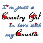 Country Gal Coastie Love Square Car Magnet 3