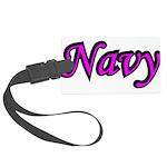 navydesignpink2a Large Luggage Tag