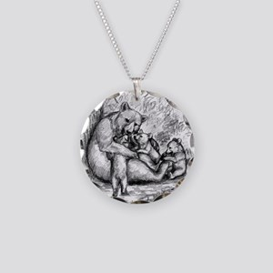Black Bear Family Necklace Circle Charm