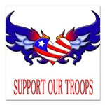 supportroopsheart7 Square Car Magnet 3