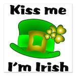 Kiss Me I'm Irish Hat Square Car Magnet 3