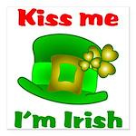 Kiss Me I'm Irish Hat ver2 Square Car Magnet 3