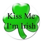 Kiss Me I'm Irish Round Car Magnet