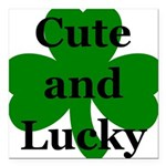 Cute and Lucky Shamrock Square Car Magnet 3