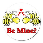 Be Mine Bees Round Car Magnet