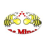 Be Mine Bees Oval Car Magnet