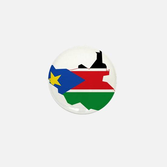 South Sudan Flag and Map Mini Button