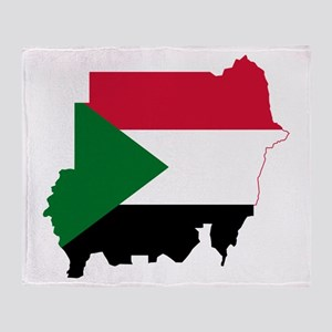 Sudan Flag and Map Throw Blanket