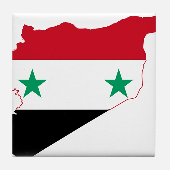 Syria Flag and Map Tile Coaster