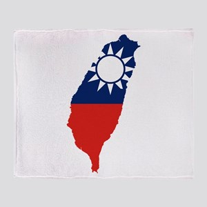 Taiwan Flag and Map Throw Blanket