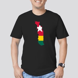 Togo Flag and Map Men's Fitted T-Shirt (dark)