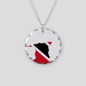 Trinidad and Tobago Flag and Map Necklace Circle C