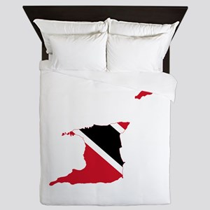 Trinidad and Tobago Flag and Map Queen Duvet