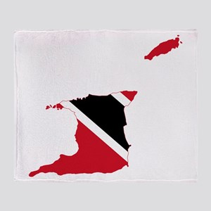 Trinidad and Tobago Flag and Map Throw Blanket