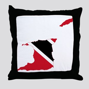 Trinidad and Tobago Flag and Map Throw Pillow