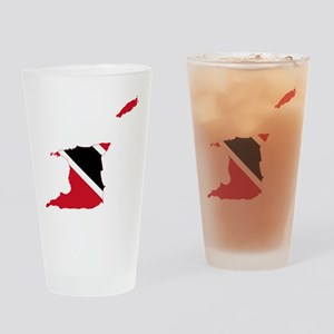 Trinidad and Tobago Flag and Map Drinking Glass