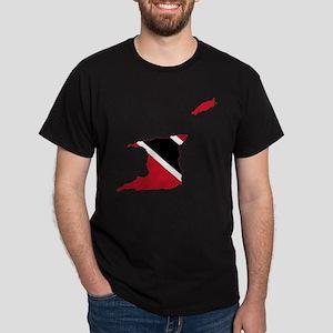 Trinidad and Tobago Flag and Map Dark T-Shirt