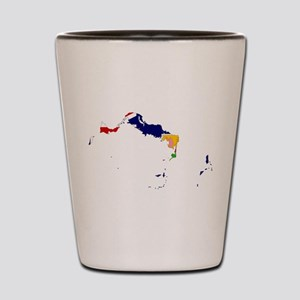 Turks and Caicos Islands Flag and Map Shot Glass