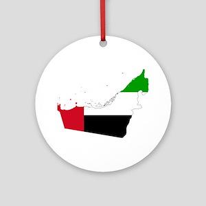 United Arab Emirates Flag and Map Ornament (Round)