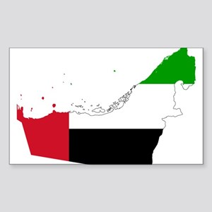 United Arab Emirates Flag and Map Sticker (Rectang