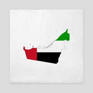 United Arab Emirates Flag and Map Queen Duvet