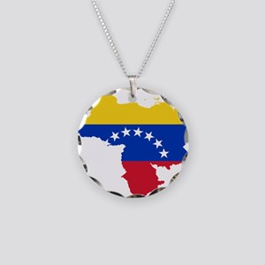 Venezuela Flag and Map Necklace Circle Charm