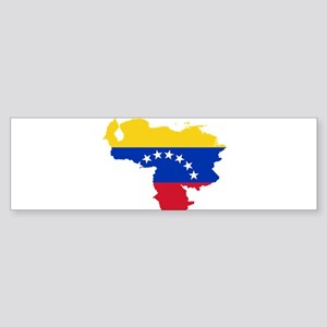 Venezuela Flag and Map Sticker (Bumper)