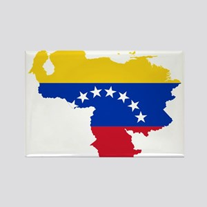 Venezuela Flag and Map Rectangle Magnet