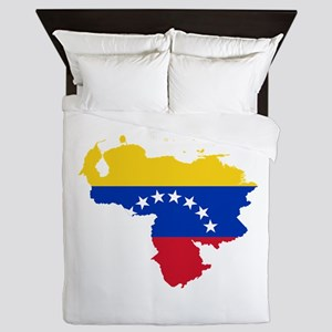 Venezuela Flag and Map Queen Duvet