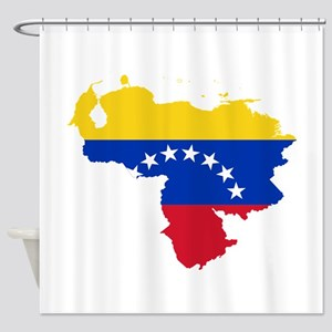 Venezuela Flag and Map Shower Curtain