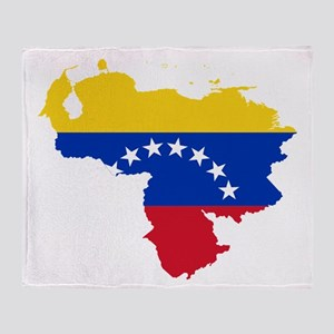 Venezuela Flag and Map Throw Blanket