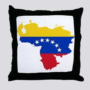 Venezuela Flag and Map Throw Pillow