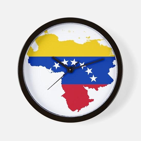 Venezuela Flag and Map Wall Clock