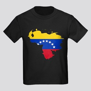 Venezuela Flag and Map Kids Dark T-Shirt