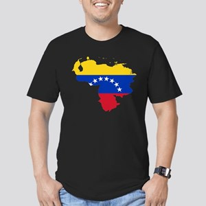 Venezuela Flag and Map Men's Fitted T-Shirt (dark)