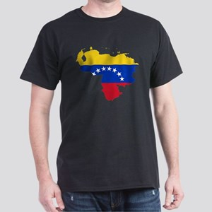 Venezuela Flag and Map Dark T-Shirt