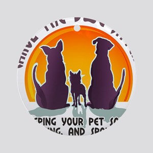 Carol The Dog Sitter with Tag Line Ornament (Round