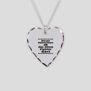 Never Underestimate Jiu-Jitsu Necklace Heart Charm